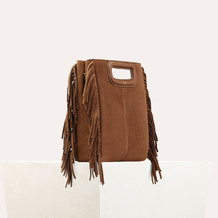 M bag with suede fringes : M bag color Camel