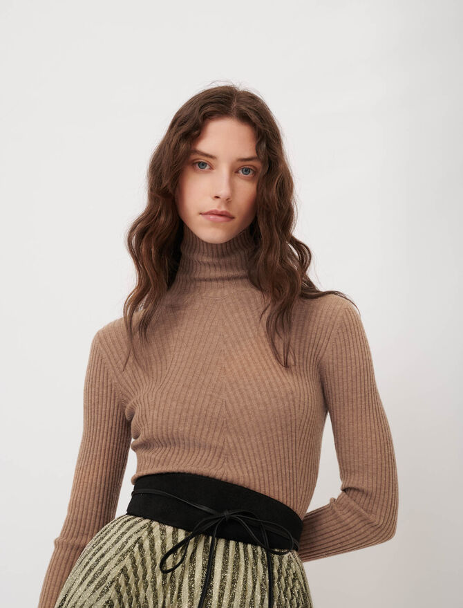 Fine ribbed sweater, stand-up collar - Ready to wear - MAJE