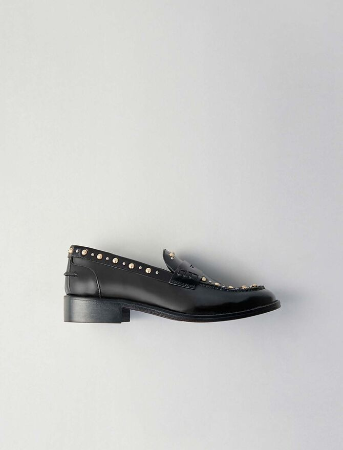Studded glazed leather moccasins - Flat shoes - MAJE