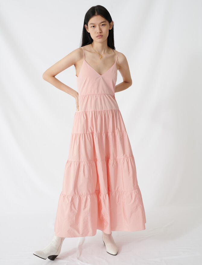 Taffeta maxi dress with thin straps -  - MAJE