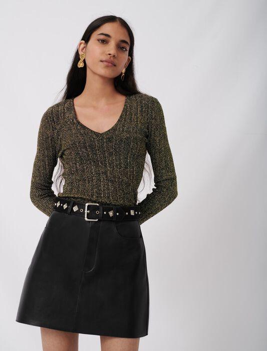Jupe droite en cuir ceinture fantaisie : null couleur Noir