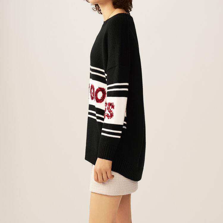 Striped and sequined sweater : Knitwear color Black 210
