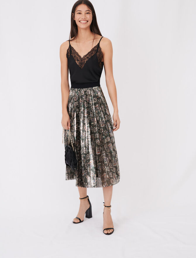 Sequin pleated skirt -  - MAJE