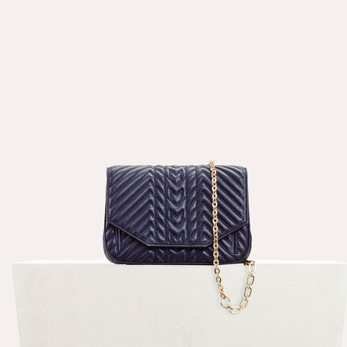 Quilted leather evening bag : null color Navy
