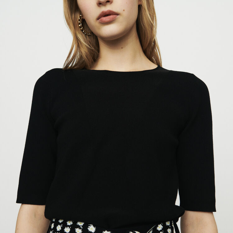 Short sleeved knit sweater : Pullovers & Cardigans color Black