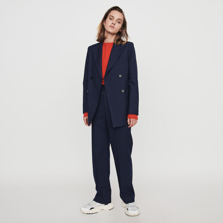 Straight-leg pants with racing stripes : Trousers & Jeans color Navy