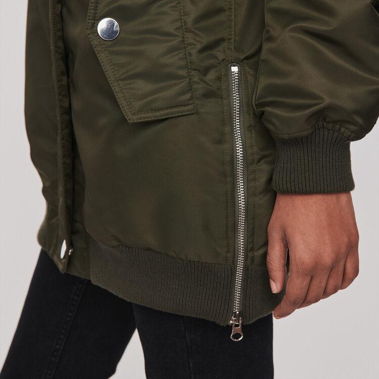 Bomber-style parka with hood : Coats & Jackets color Khaki