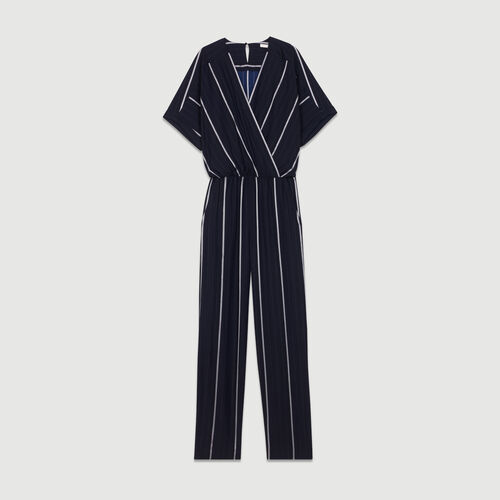 Striped Jumpsuit : Trousers & Jeans color Navy