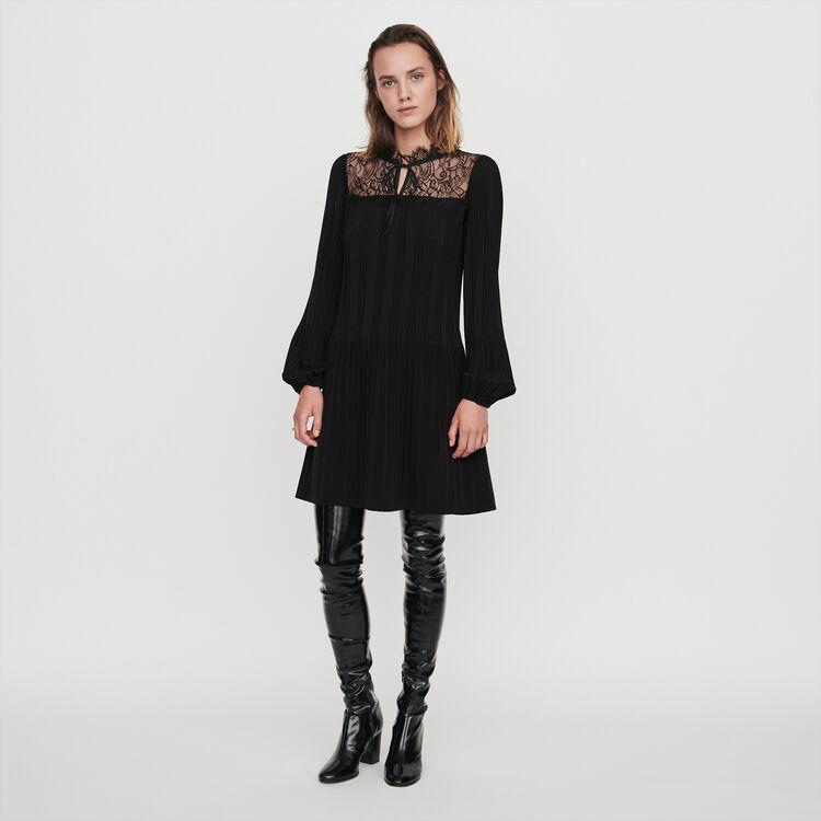 Pleated lace dress : Dresses color Black