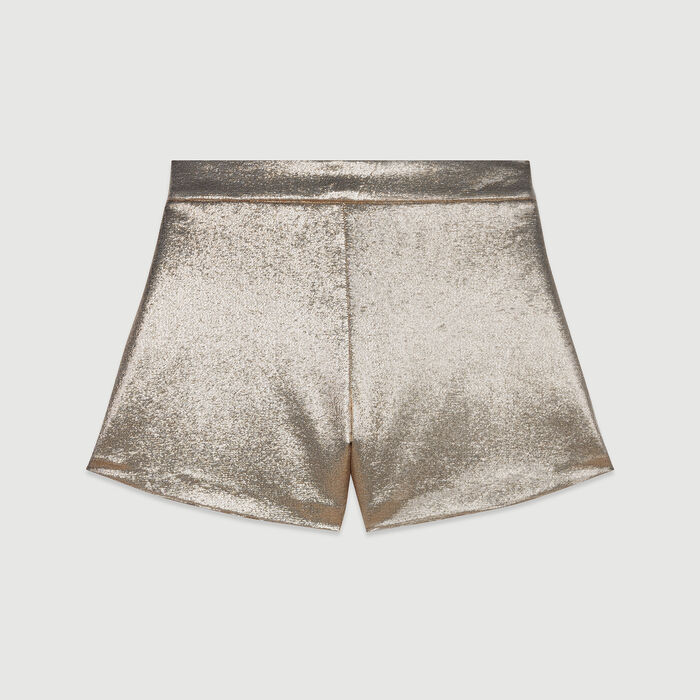 Lurex silk shorts : See all color Gold