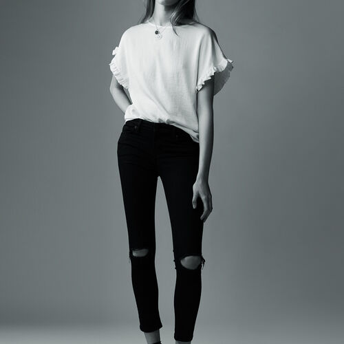 7/8 embroidered skinny jeans : Jeans color Black 210