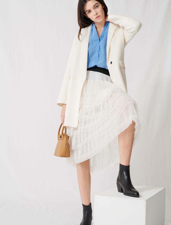 White double-faced midi coat - Coats & Jackets - MAJE