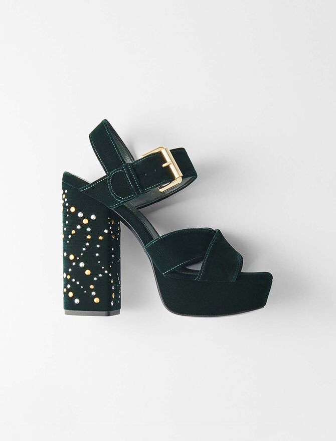 Studded velvet platform sandals - Slipper - MAJE