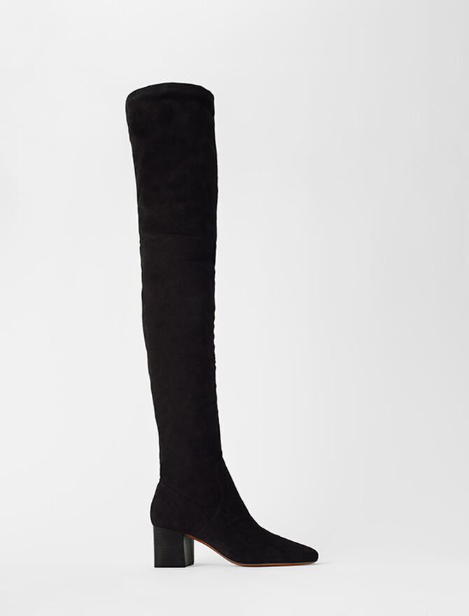 Heeled over-the-knee boots in goat suede -  - MAJE