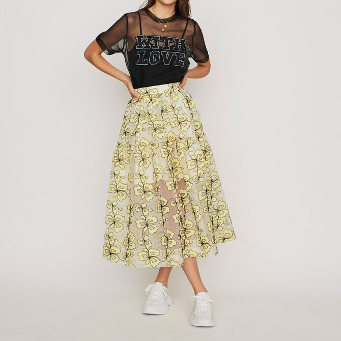 Organza skirt with flowers - See all - MAJE
