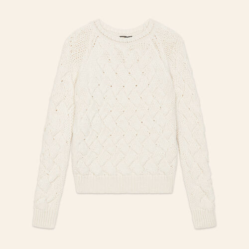 Cable knit sweater : Sweaters & Cardigans color Ecru