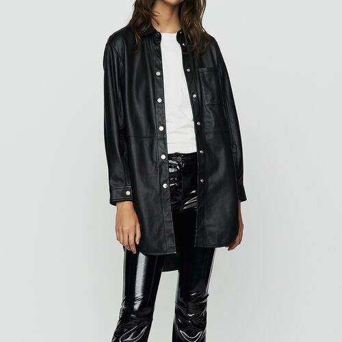 Long leather blouse : Shirts color BLACK