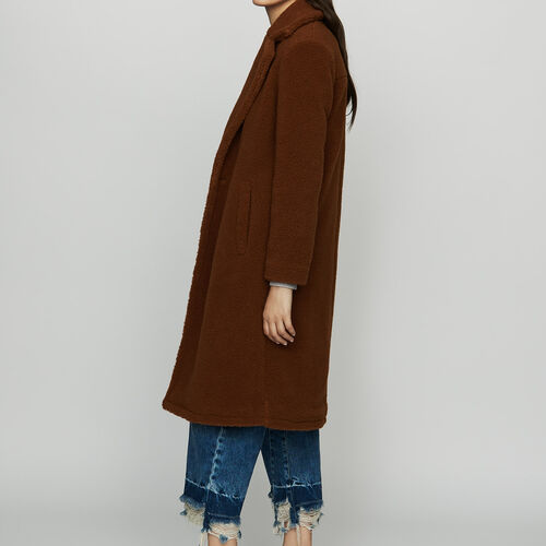 Long faux fur coat : Coats color Brown