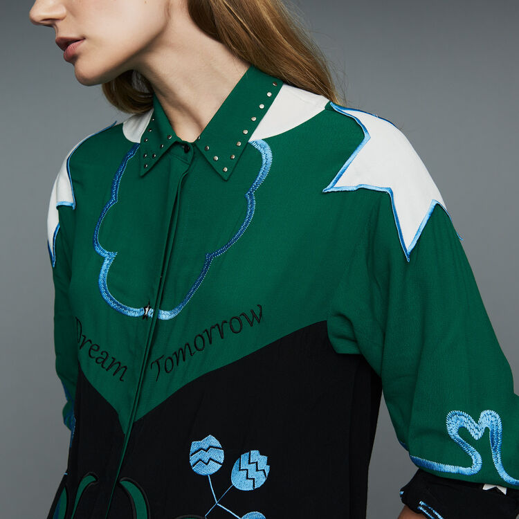 Multicolored embroidered shirt : Shirts color Multico