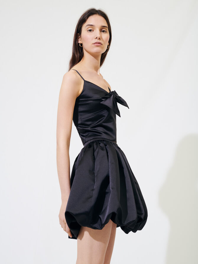 Satin puff mini skirt -  - MAJE