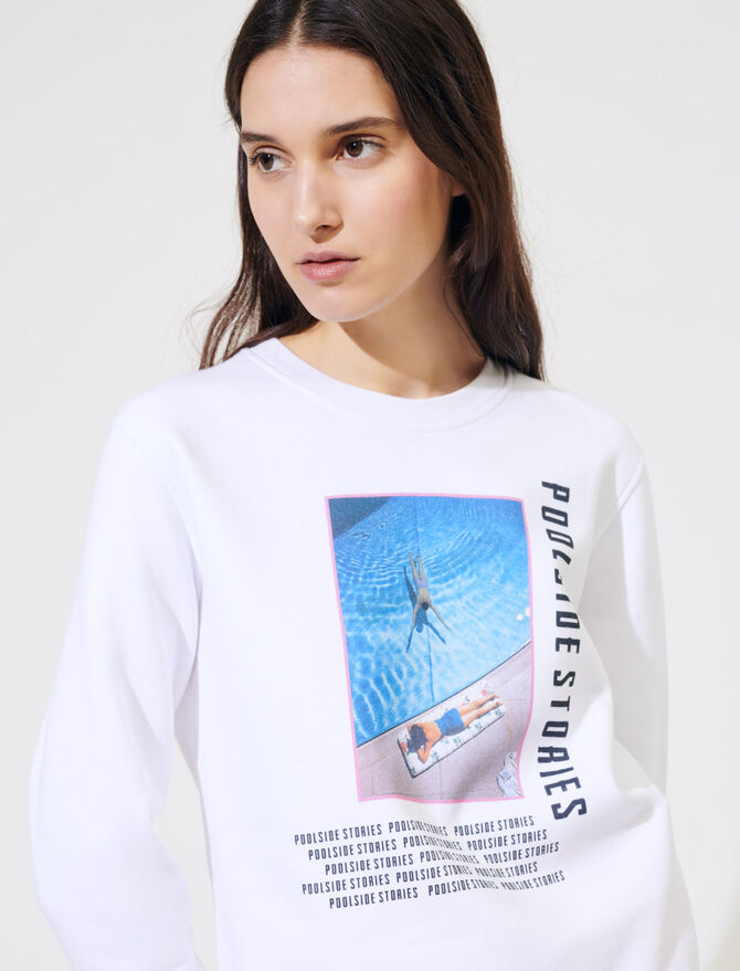White screen-printed sweatshirt - Pullovers & Cardigans - MAJE