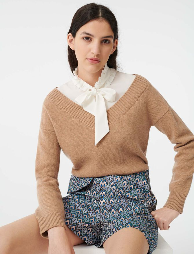 Mixed fabric trompe l'oeil sweater - Pullovers & Cardigans - MAJE