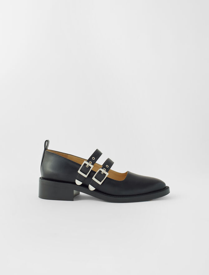 Black leather flat Mary Janes -  - MAJE