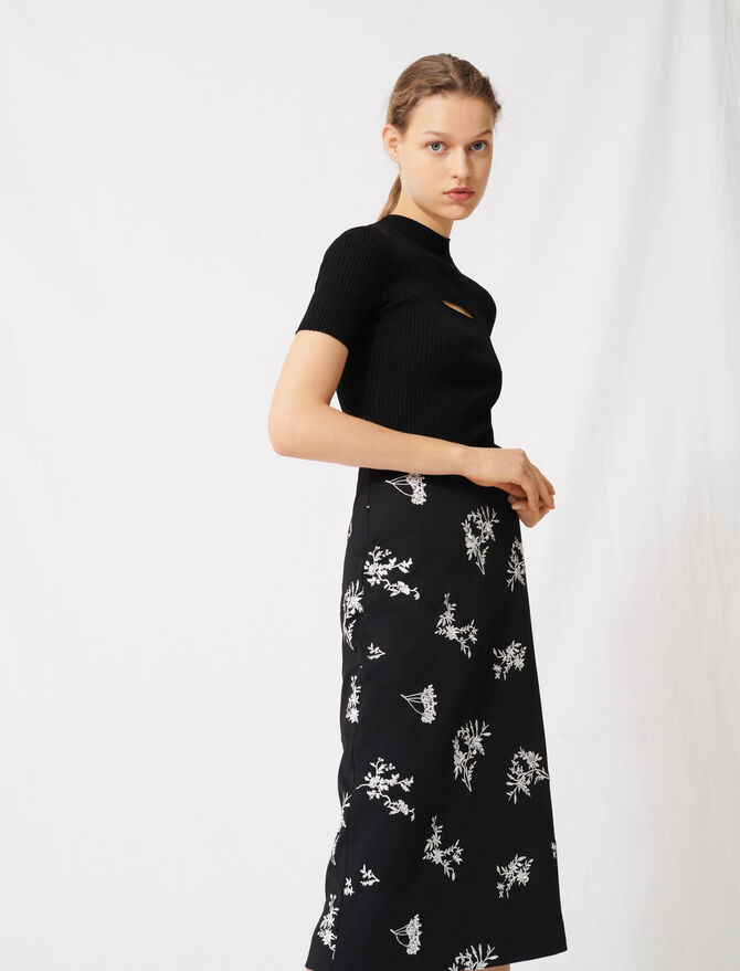 Midi skirt in embroidered crêpe -  - MAJE