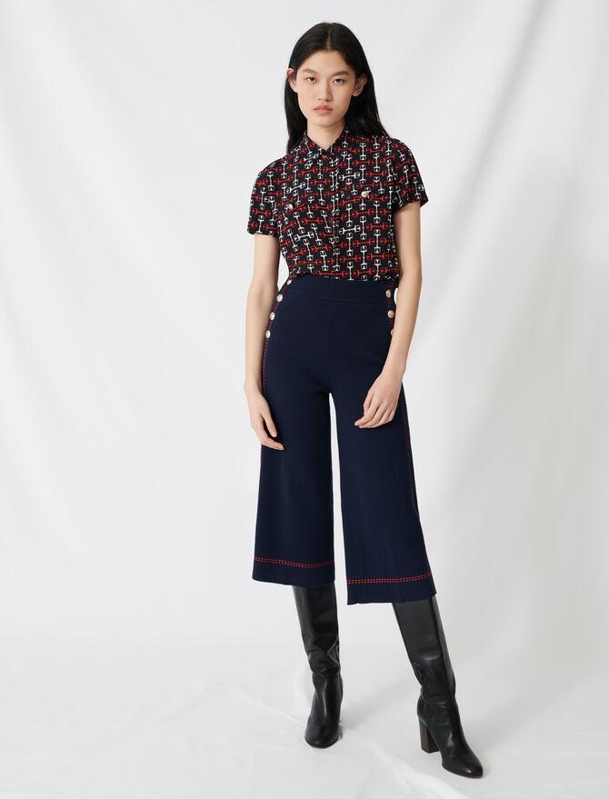 Pantalon évasé à surpiqûres contrastées - Pap_Pantalons-Jeans - MAJE