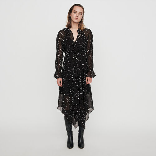 Printed-muslin scarf dress : Winter collection color Black
