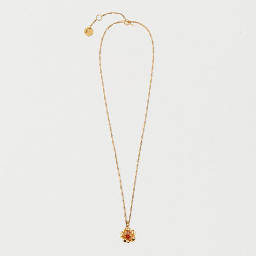 Necklace with flower red middle : Summer Collection color GOLD