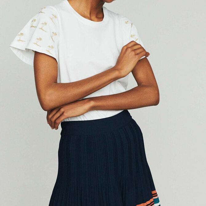 Tee-shirt avec manches brodées - SoldesCH-T-shirts - MAJE