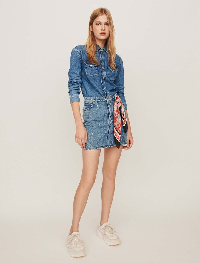 Faded jean shirt - Dresses - MAJE
