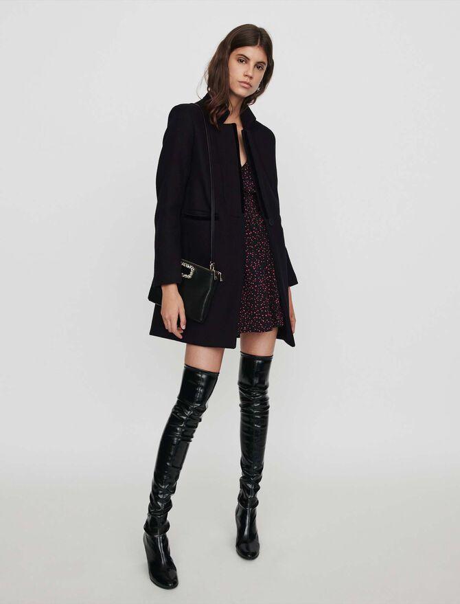 Manteau en drap de laine et velours - Pap_Manteaux-Blousons - MAJE