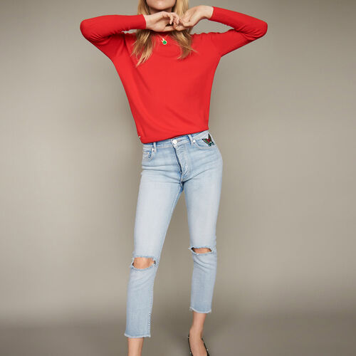 Cropped faded denim jeans : Jeans color Denim