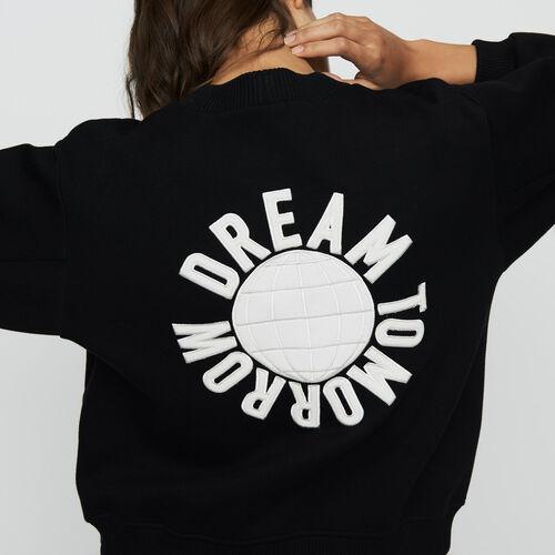Sweatshirt with back embroidery : Sweatshirts color Black 210