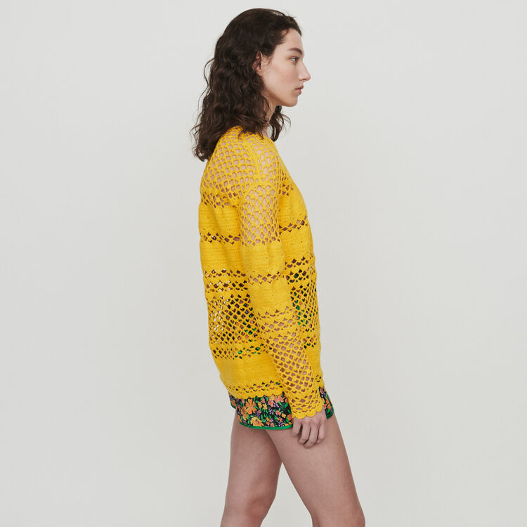 Oversize sweater in crochet knit : Pullovers & Cardigans color Yellow