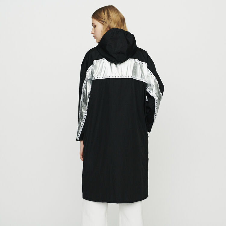 Long parka with inlaid bands : Coats color Black 210