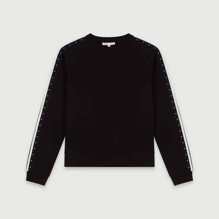Contrast striped and studded sweatshirt : Winter collection color Black