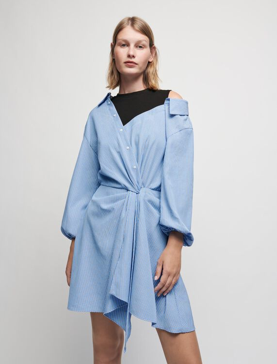 Robe chemise trompe-l'œil à rayures - Pap_Robes - MAJE