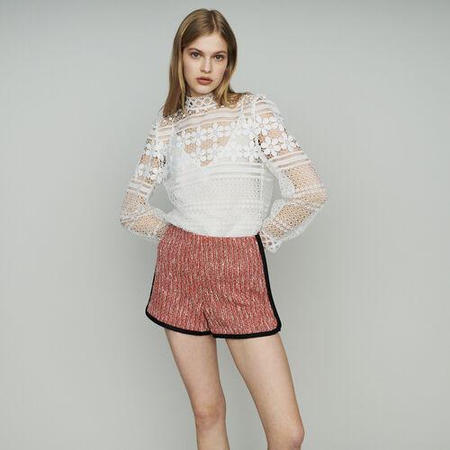 Short façon tweed : Pap_Jupes-Shorts couleur Rouge