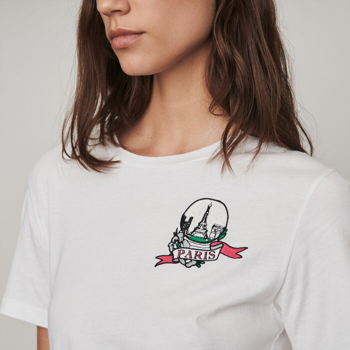 Embroidered t-shirt : T-Shirts color White