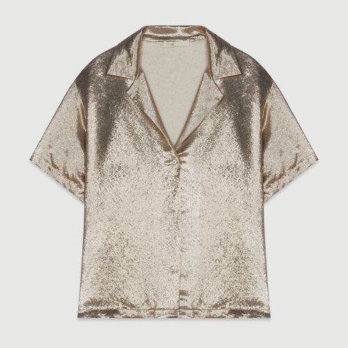 Pajama-style silk blend shirt : Shirts color Gold