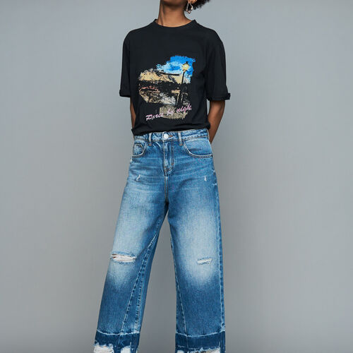 Wide jeans with distressed detailing : Ready to wear color Blue
