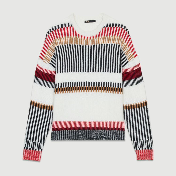 Oversize sweater in wool blend : Knitwear color Multico