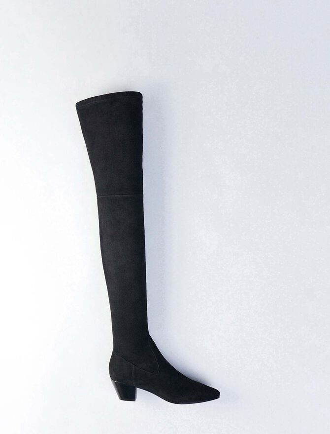 Stretch velvet goat leather thigh boots - Booties & Boots - MAJE