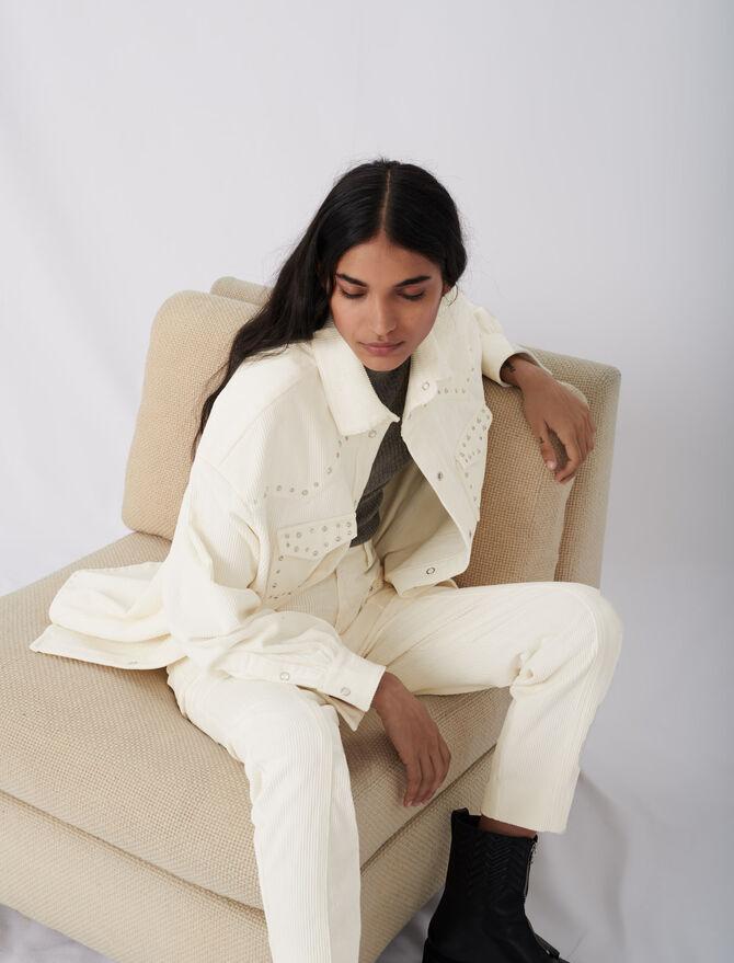Pantalon en velours côtelé et studs - Pap_Pantalons-Jeans - MAJE