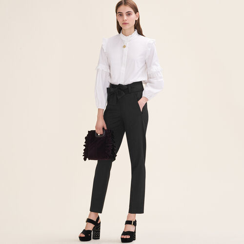 Carrot trousers with bow : Trousers & Jeans color Black 210