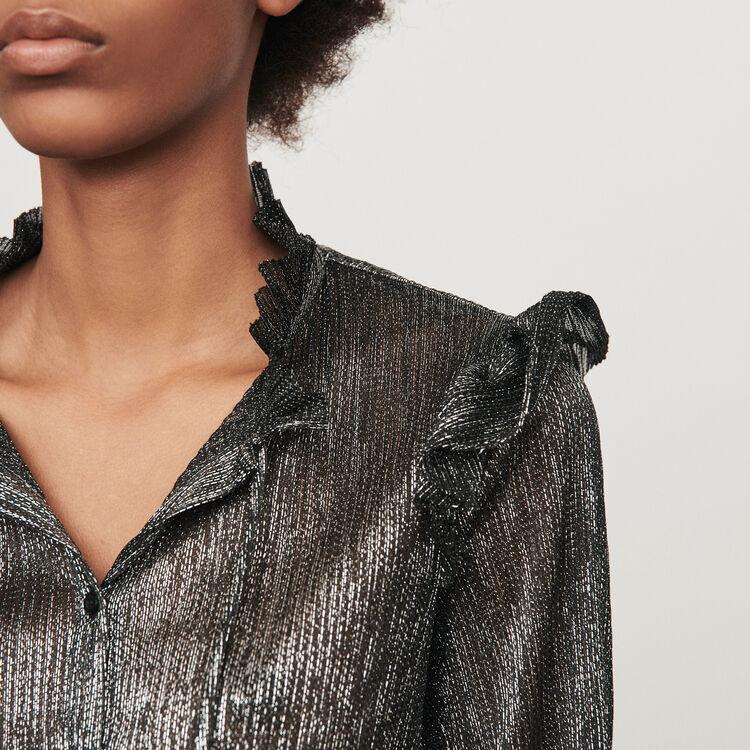 Lurex ruffled shirt : Tops & Shirts color Silver