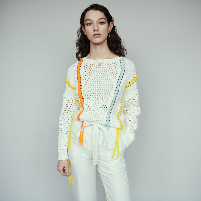 Sweater in novelty knit with ribbon : Pullovers & Cardigans color Ecru